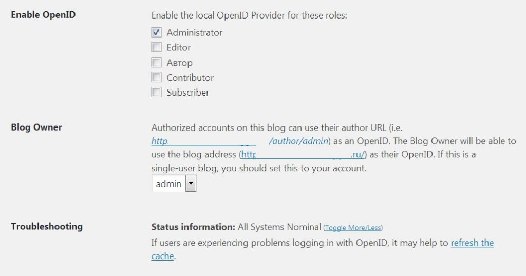 WP OpenID plugin settings